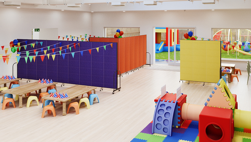 a large brightly colored party room with a play place and private areas