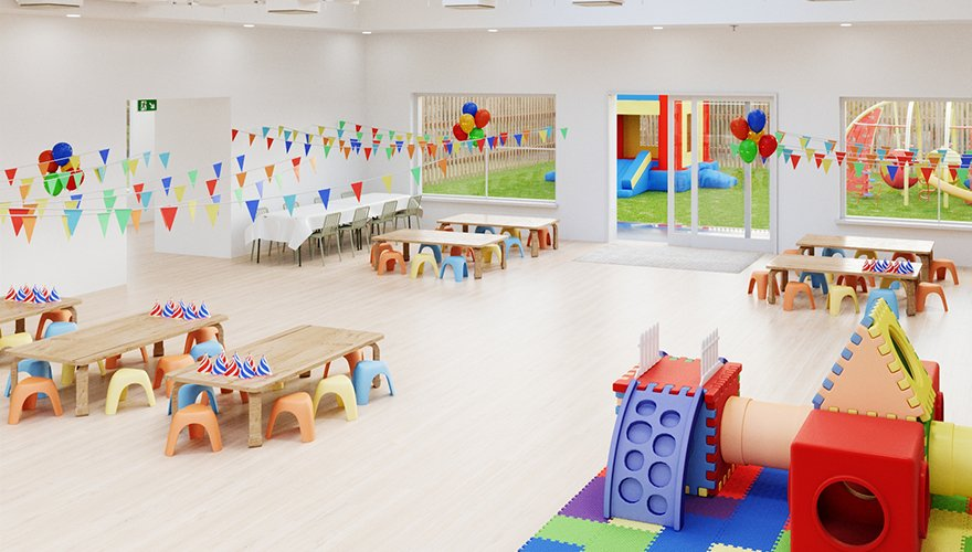 a large empty party room with no dividers