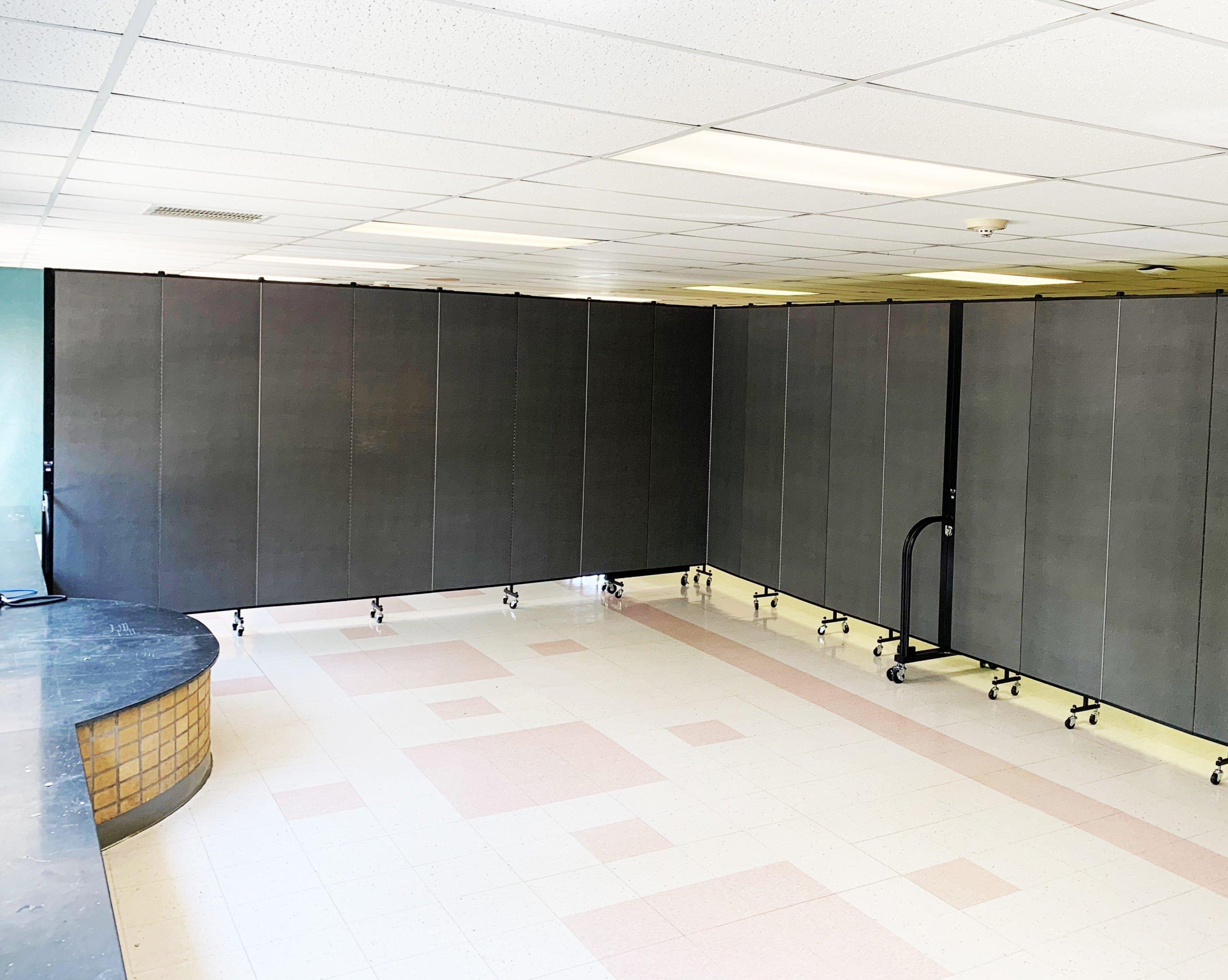 gray room divider in hallway