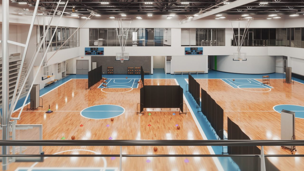 basketball gymnasium with black room dividers