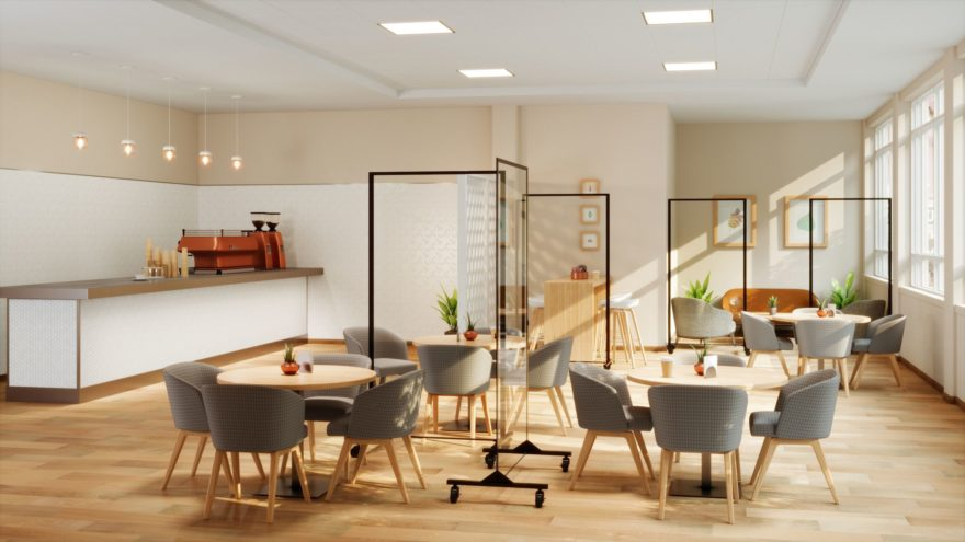 assisted living social distancing barriers in a cafeteria