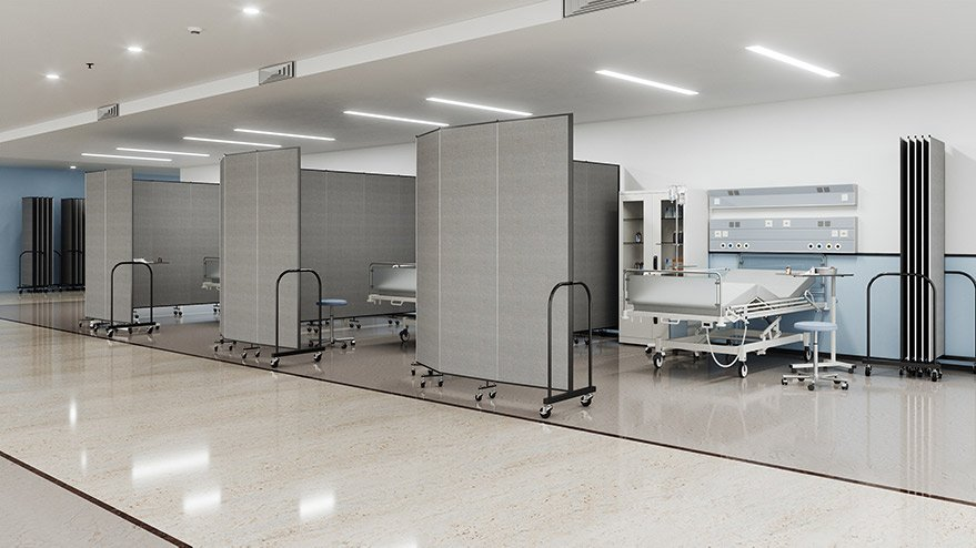 medical dividers surrounding hospital bed
