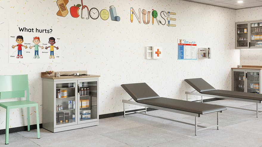 school nurse station with two empty beds