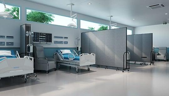 optimal healing environments-hospital room with gray room dividers