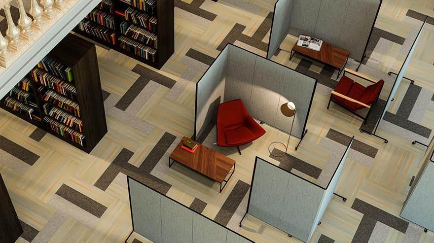 library privacy walls surrounding a study area