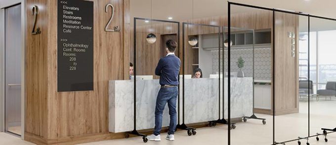 safety dividers-clear dividers in front of reception area