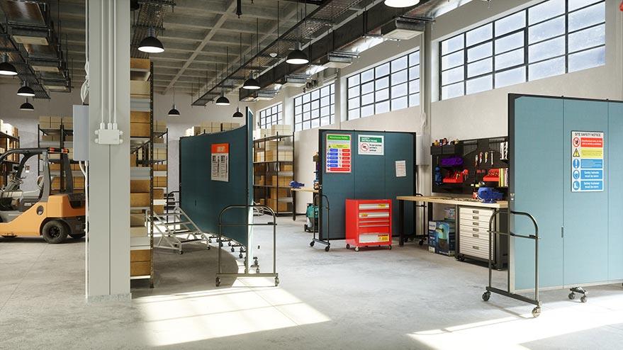 industrial warehouse dividers separating workspaces