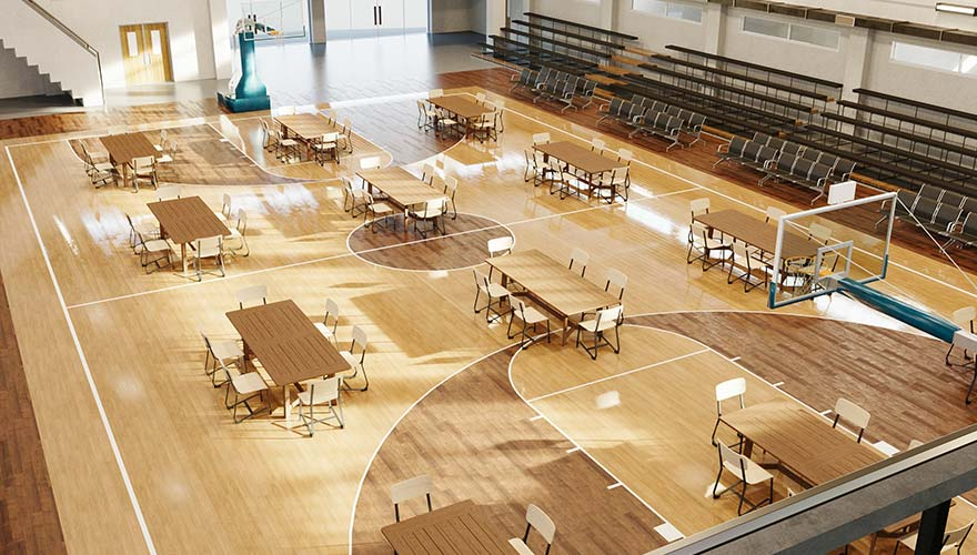 temporary classrooms and tables
