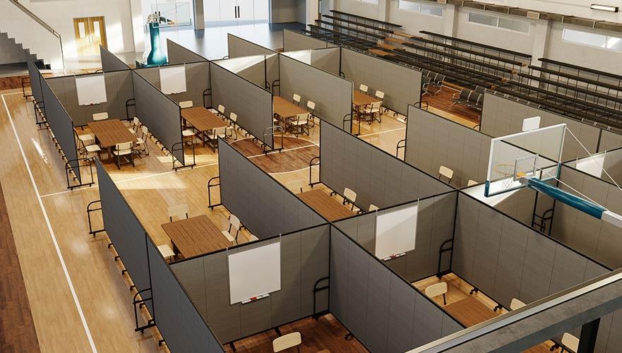 temporary classroom in gymnasium