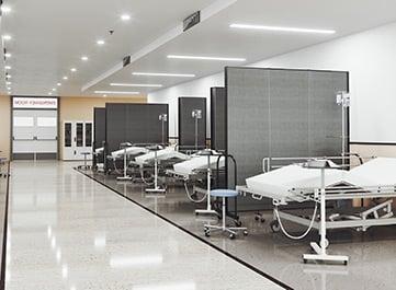 social distancing dividers in overflow emergency room
