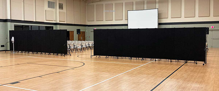 church expansion room dividers in a gymnasium