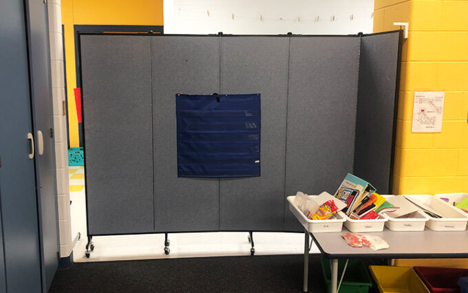 post pandemic classroom dividers in common space