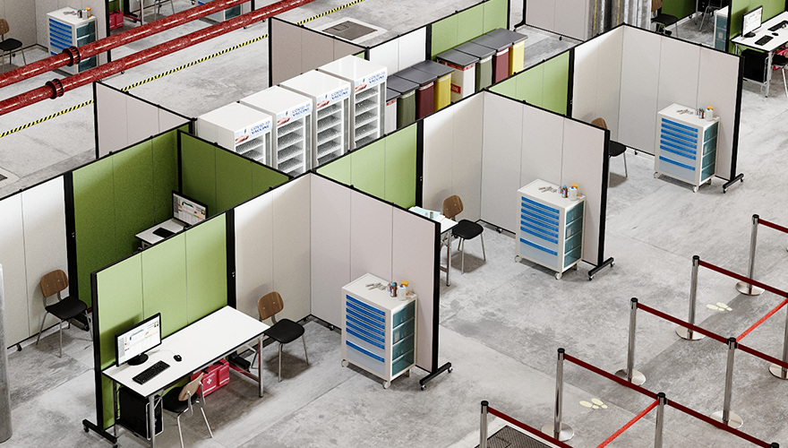 warehouse dividers offer office space