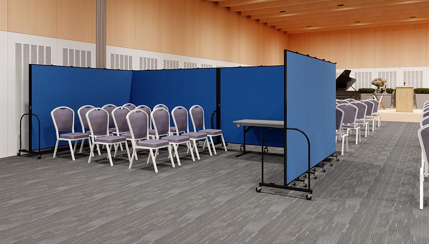 privacy area in church surrounded by room dividers