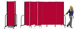 A set of room dividers, one in a closed position and the other in a zig-zag formation