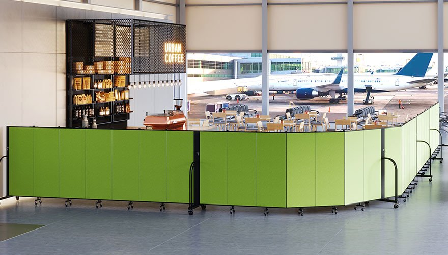 retractable barriers around airport cafe