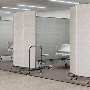 vinyl room dividers surround hospital beds