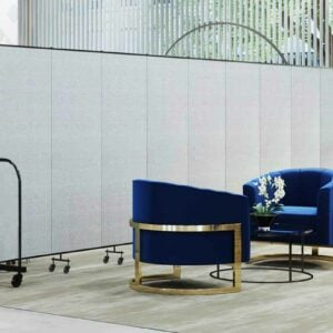 vinyl dividers behind two blue chairs in a hospitality